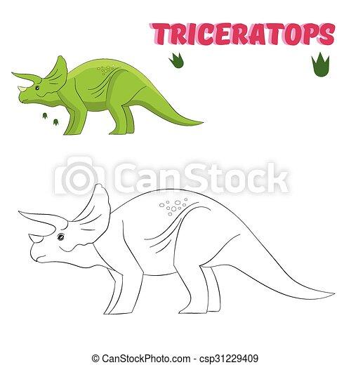 Färbung, erzieherisch, buch, spiel, dinosaurierer. Buch,... Vektor ...