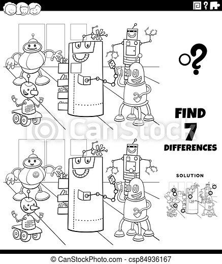 färbung, erzieherisch, unterschiede, spiel, roboter, seite, buch - csp84936167