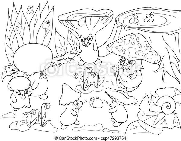 Färbung, familie, abbildung, kinder, pilze, buch, vektor,... Clipart ...