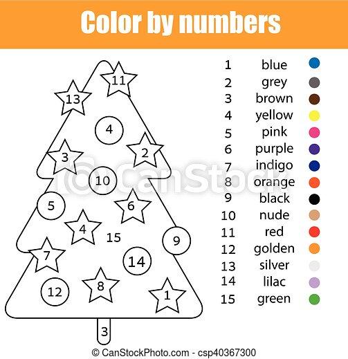 Färbung, farbe, weihnachten, baum., zahlen, seite. Baum.,... Vektor ...