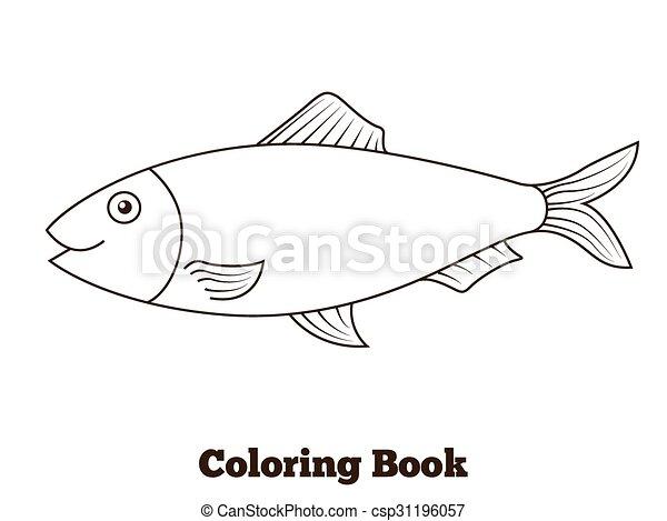 Färbung, fische, abbildung, buch, matjes, karikatur.... Clipart ...