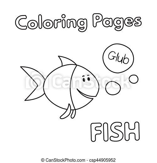Färbung, fische, buch, karikatur. Vektor, färbung,... Clipart Vektor ...