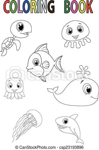 Färbung, fische, buch, karikatur. Färbung, fische,... EPS Vektoren ...