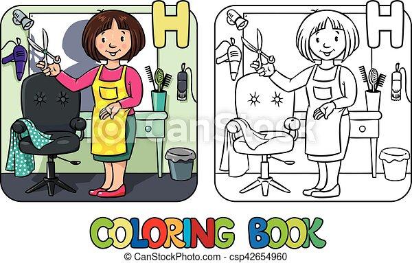 Färbung, friseur, alphabet, beruf, book., h. Vektor, lustiges, frau ...