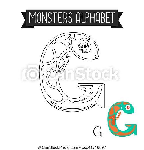Färbung, g, alphabet, seite, brief, monster. Färbung, g,... EPS ...
