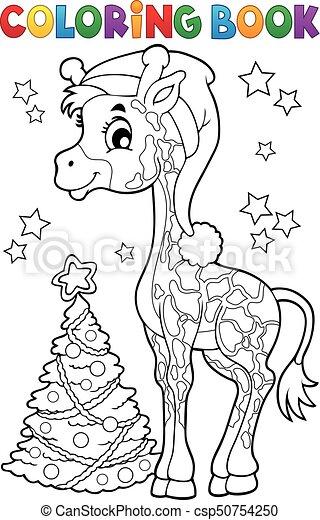 Färbung, giraffe, buch, weihnachten. Färbung, eps10,... Clipart ...