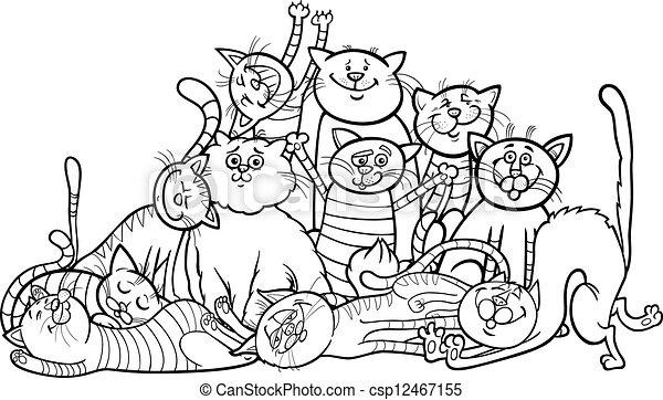 Färbung, gruppe, karikatur, katzen, buch, glücklich.... Clipart ...