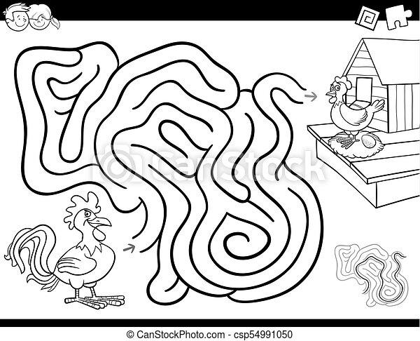 färbung, hahn, spiel, buch, labyrinth, henne - csp54991050
