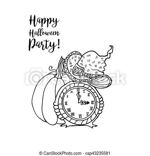 Färbung, halloween, accessoirs, buch, design, hexe,... Vektor ...
