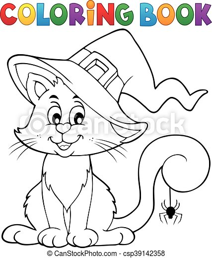 Färbung, halloween, buch, katz Clipart Vektor - Suche Illustration ...