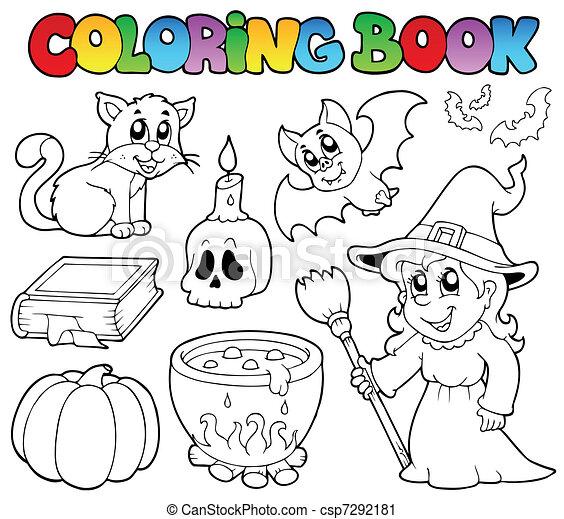 Färbung, halloween, buch, sammlung. Färbung, illustration ...