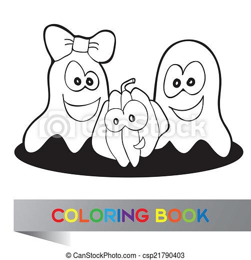 Färbung, halloween, buch. Färbung, halloween, -, abbildung ...