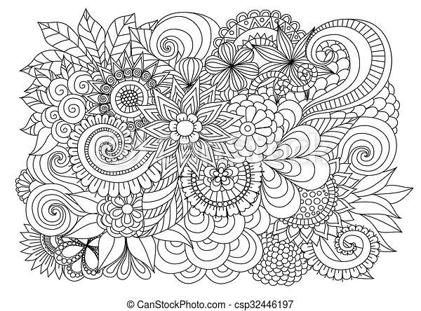 Färbung, hand, hintergrund, zentangle, blumen-, gezeichnet,... EPS ...