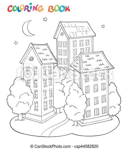 Färbung, haus, moon., -, bäume, seite, kinder, buch. Vektor ...
