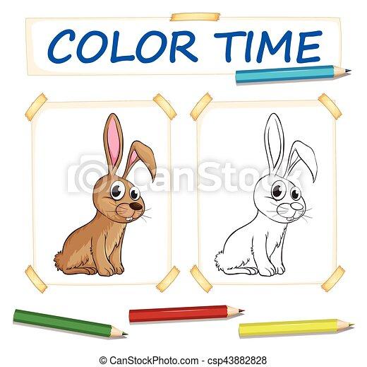 Färbung, kaninchen, schablone. Färbung, kaninchen,... Vektor ...