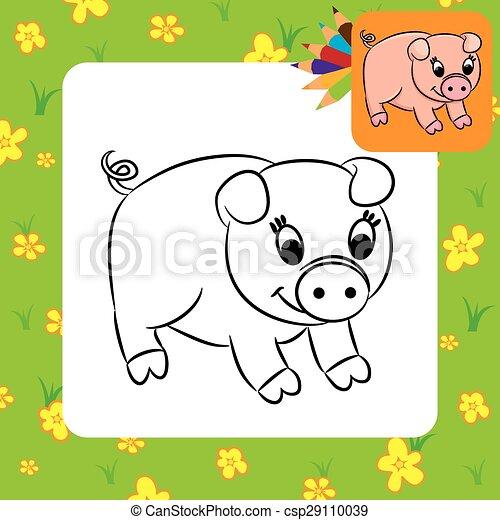 Färbung, karikatur, pig., seite. Page., färbung,... Vektoren - Suche ...