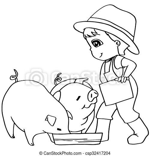 Färbung, kind, schweine, fütterung, v, buch. Färbung,... Vektor ...