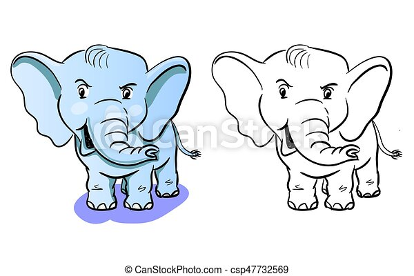Färbung, -, kinder, buch, elefant, karikatur. Vektor,... Clipart ...