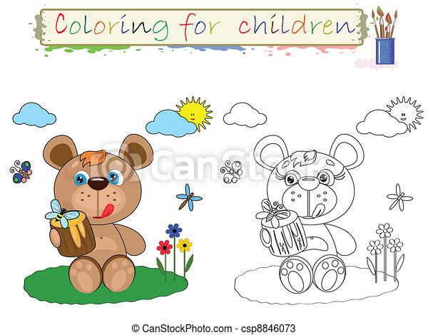 Färbung, kinder, bär Vektoren - Suche Clipart, Illustration ...