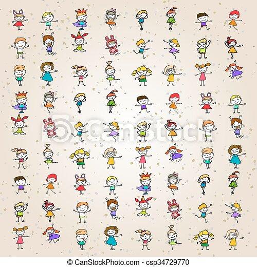 Färbung, kinder, karikatur, satz, hand, zeichnung,... Vektoren ...