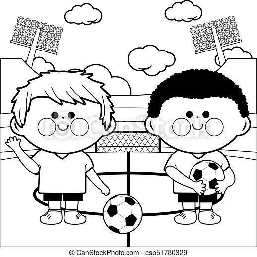Färbung, kinder, spieler, stadion, fußball, seite. Färbung ...