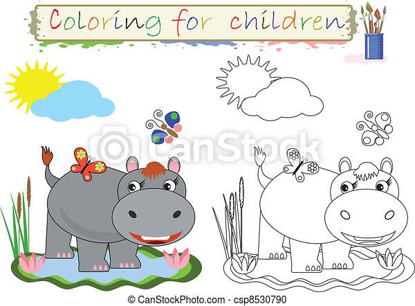 Färbung, kinder. Kinder, färbung Vektor Clipart - Suche Illustration ...