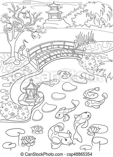 Färbung, kleingarten, natur, cartoon., japanisches ,... Clipart ...