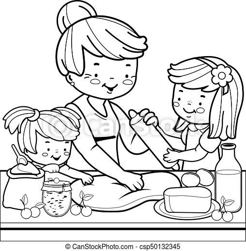 Färbung, kochen, kitchen., kinder, großmutter, buchseite.... EPS ...