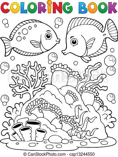 Färbung, koralle, 1, thema, buch, riff. Färbung,... Clipart Vektor ...