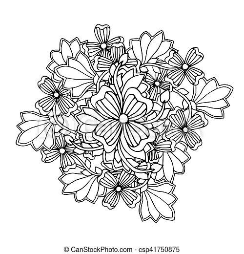 Färbung, kunst, collection., farbe, mono, design.floral,... Vektoren ...
