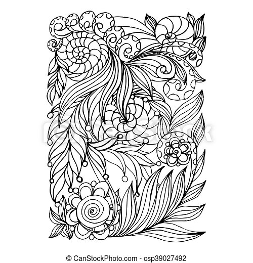 Färbung, kunst, collection., farbe, mono, design.floral,... EPS ...