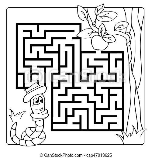 Färbung, labyrinth, puzzel, -, spiel, buch, labyrinth,... Vektor ...