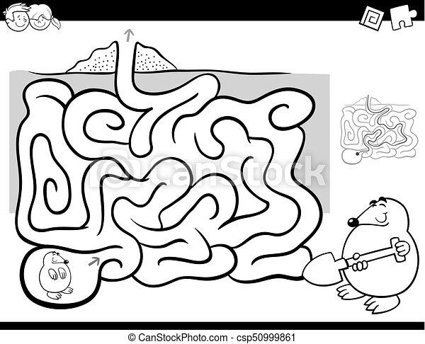Färbung, maulwurf, witz, tier, aktivität, labyrinth, buch ...