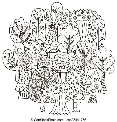 Färbung, muster, bäume, fantasie, form, buch, kreis. Book ...