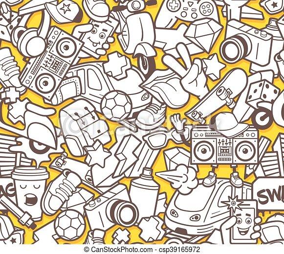 Färbung, muster, seamless, buch, graffiti, erwachsener.... Vektoren ...
