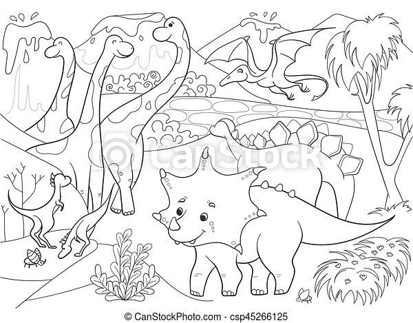 Färbung, nature., abbildung, karikatur, dinosaurier, vektor ...