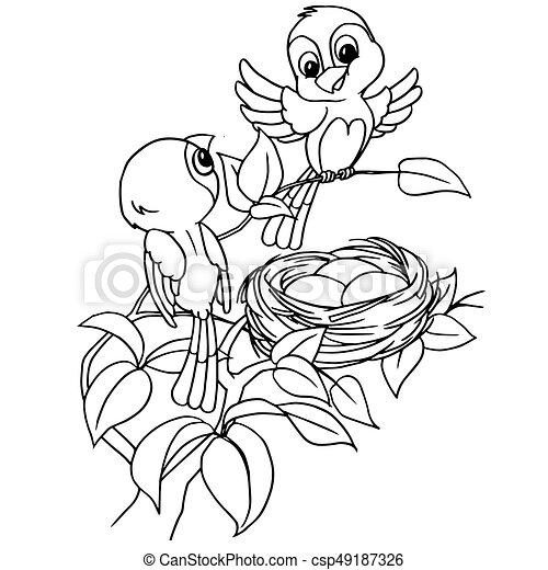 Färbung, nest, karikatur, vektor, ei, vogel, seite Vektor ...