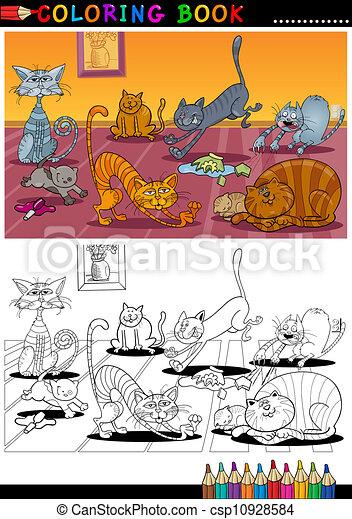 färbung, oder, buch, katzen, karikatur, seite - csp10928584