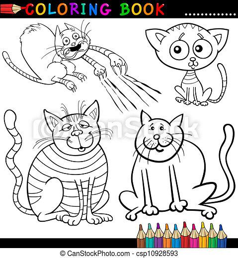 Kartoon-Katzen für Farbbuch oder Seite - csp10928593