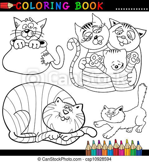 Färbung, oder, buch, katzen, karikatur, seite. Lustiges,... EPS ...