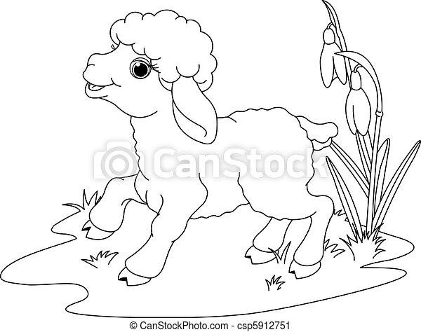Färbung, ostern, seite, lamb. Lamm, meadow., färbung,... Vektor ...
