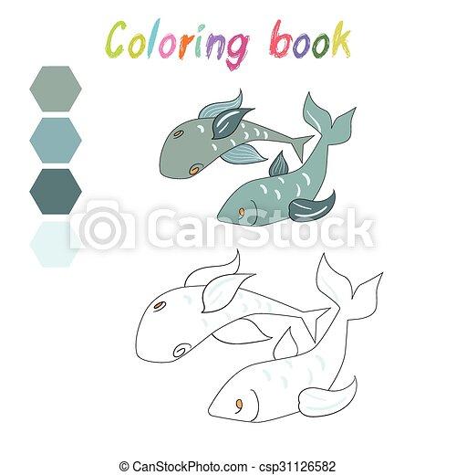 Färbung, plan, kinder, fische, spiel, buch. Färbung, plan,... Vektor ...