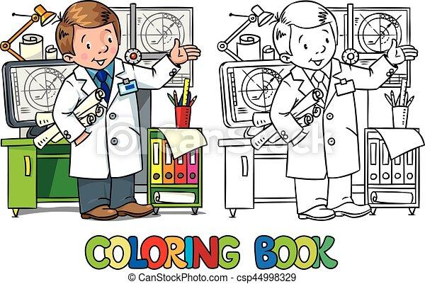 Färbung, reihe, beruf, book., abc, ingenieur. Vektor,... Vektor ...