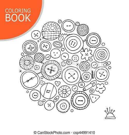 Färbung, sketch., sammlung, dein, tasten, buchseite. Book ...