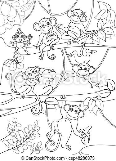 Färbung, stammbaum, abbildung, kinder, vektor, karikatur ...