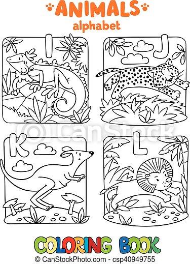 Färbung, tiere, alphabet, abc., buch, oder. Leguan, lustiges ...