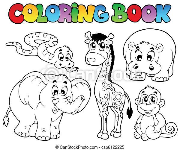 Färbung, tiere, buch, afrikanisch. Färbung, tiere,... Clipart Vektor ...