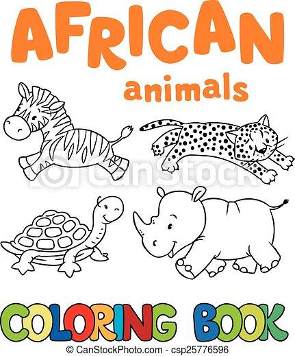 Färbung, tiere, buch, afrikanisch. Bild, färbung, tiere,... EPS ...