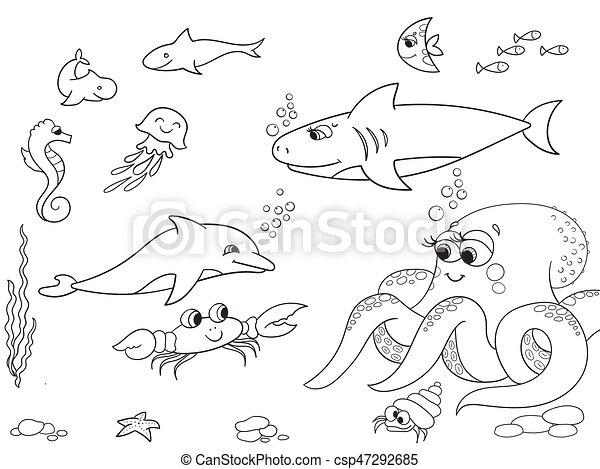 Färbung, tiere, cartoon., marine, object., vektor,... Vektor - Suche ...