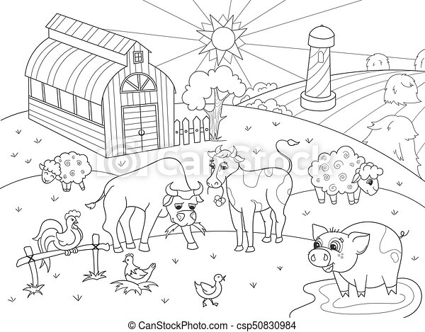 Färbung, tiere, erwachsene, bauernhof, vektor, ländlicher... Vektor ...